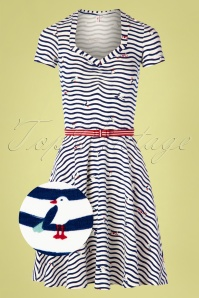 Blutsgeschwister 60s Mze Kze Dress in Seagull Stripes Ivory