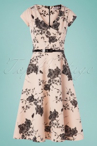 50s Raelynn Floral Swing Dress in Nude
