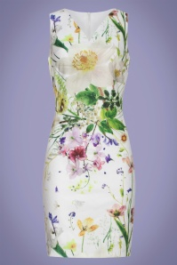 Whitney Floral Pencil Dress Années 60 en Ivoire
