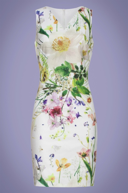 Smashed Lemon 28623 White Multi Floral Pencil Dress 20190508 020LW