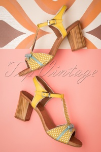 60s Cathy Leather Sandals in Yellow