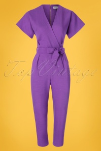 Closet London 60s Phoebe Cropped Jumpsuit in Lilac