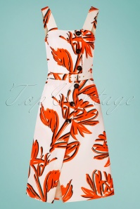Closet London 60s Paloma Palm A-Line Dress in Ivory and Orange