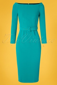 Closet London 50s Brittany Off The Shoulder Dress in Turquoise