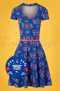 Blutsgeschwister 60s Mze Kze Dress in Ocean Desire Blue