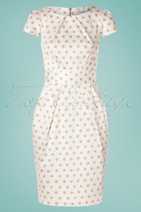 Closet London 60s Feya Dots Tulip Dress in Cream