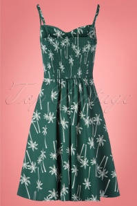 Collectif 28610 Swingdress Palmtrees Green 130519 0009W