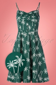 Collectif Clothing 50s Fairy Vintage Palm Doll Dress in Green