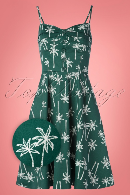 Collectif 28610 Swingdress Palmtrees Green 130519 0003Zoom