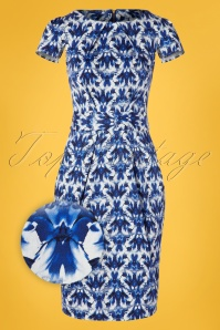 Closet London 60s Feya Floral Tulip Dress in Blue