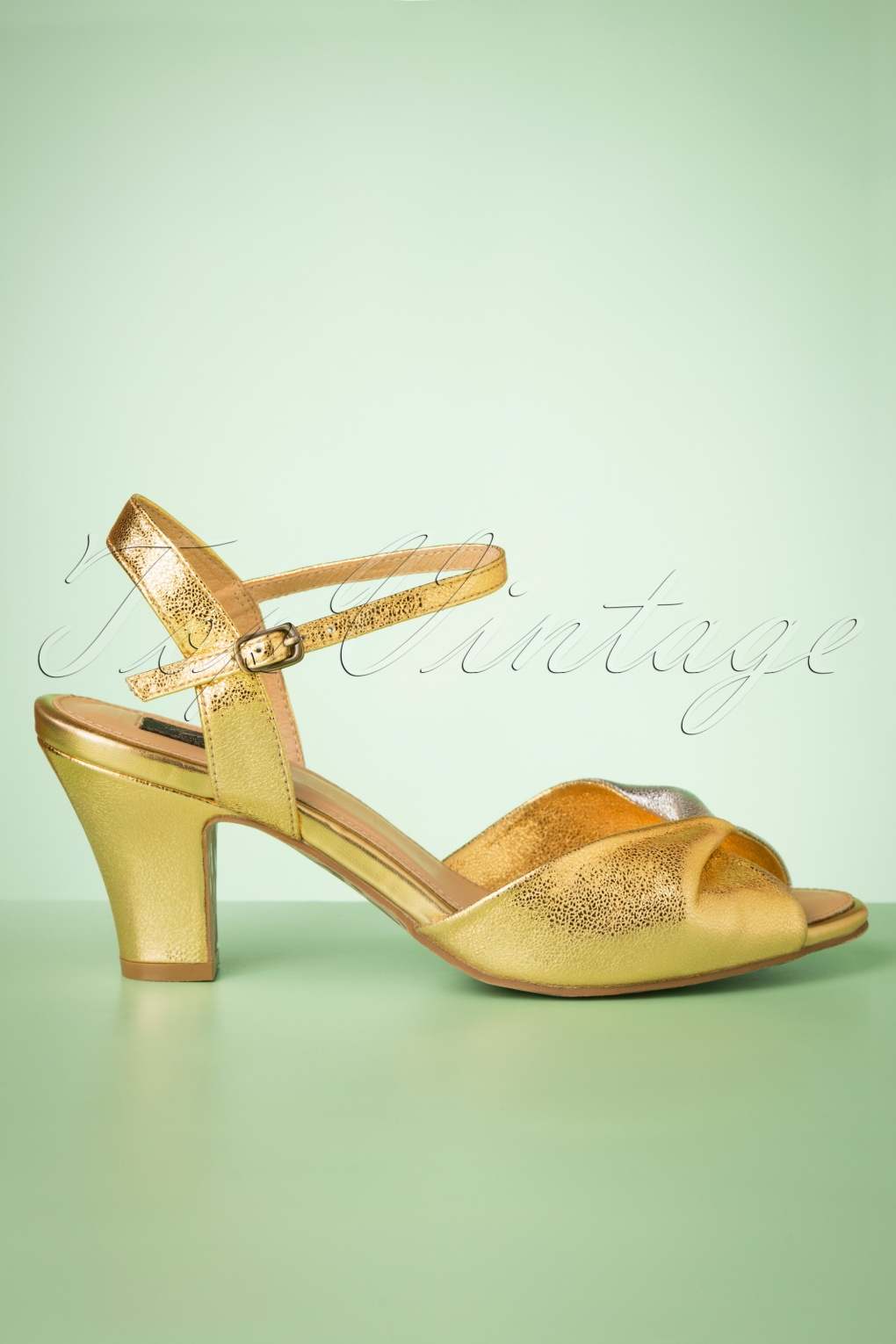 1950s Style Shoes | Heels, Flats, Saddle Shoes 50s Ava Its A Two Tone Thing Sandals in Metallic Gold and Silver �107.70 AT vintagedancer.com
