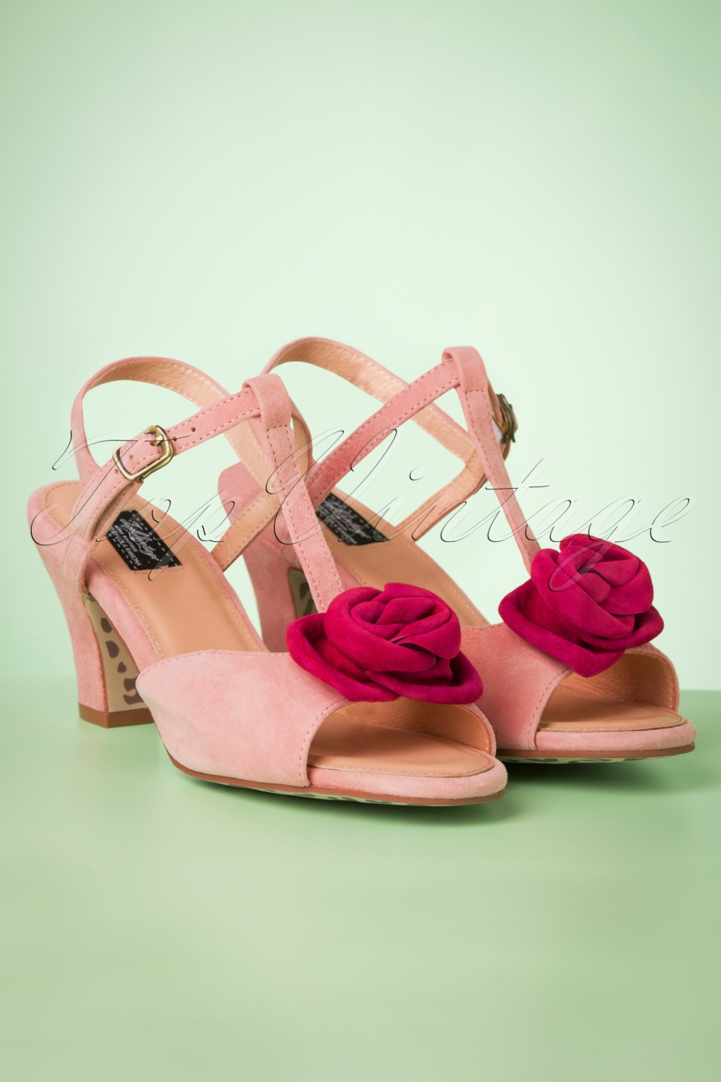 Rockabilly Shoes- Heels, Pumps, Boots, Flats 50s Ava Bloom Baby Bloom Sandals in Dusty Pink �104.02 AT vintagedancer.com