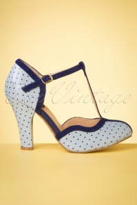 50s June Pin Down The Dots T-Strap Pumps in Sky Blue