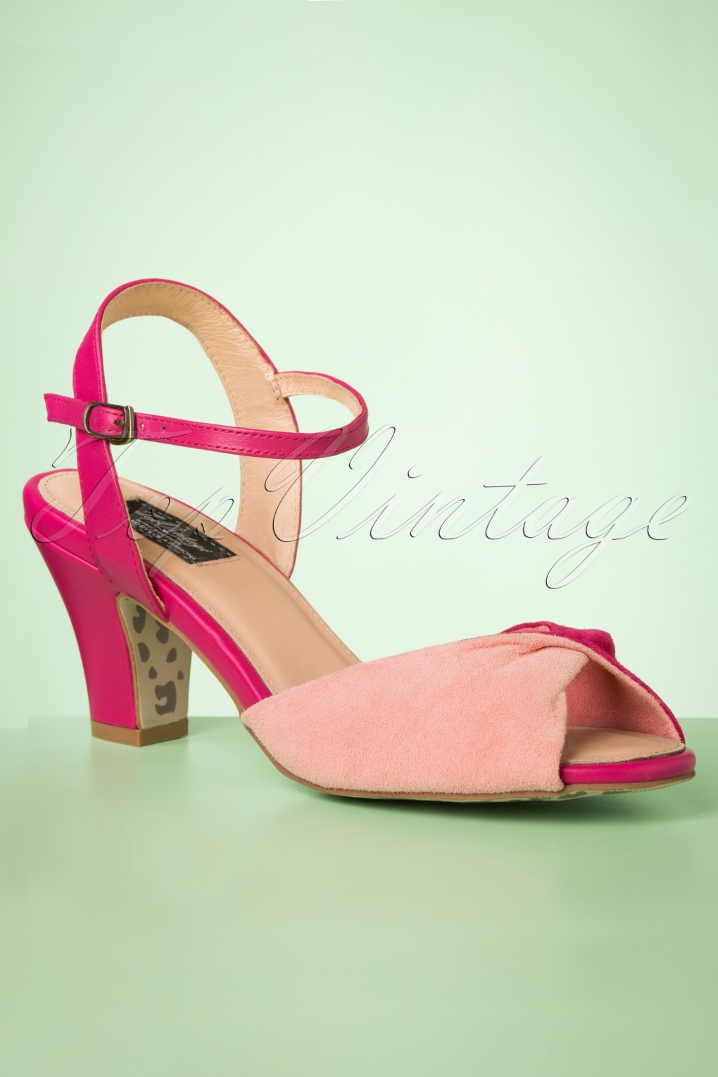 1950s Style Shoes | Heels, Flats, Saddle Shoes 50s Ava Its A Two Tone Thing Sandals in Pink £66.80 AT vintagedancer.com