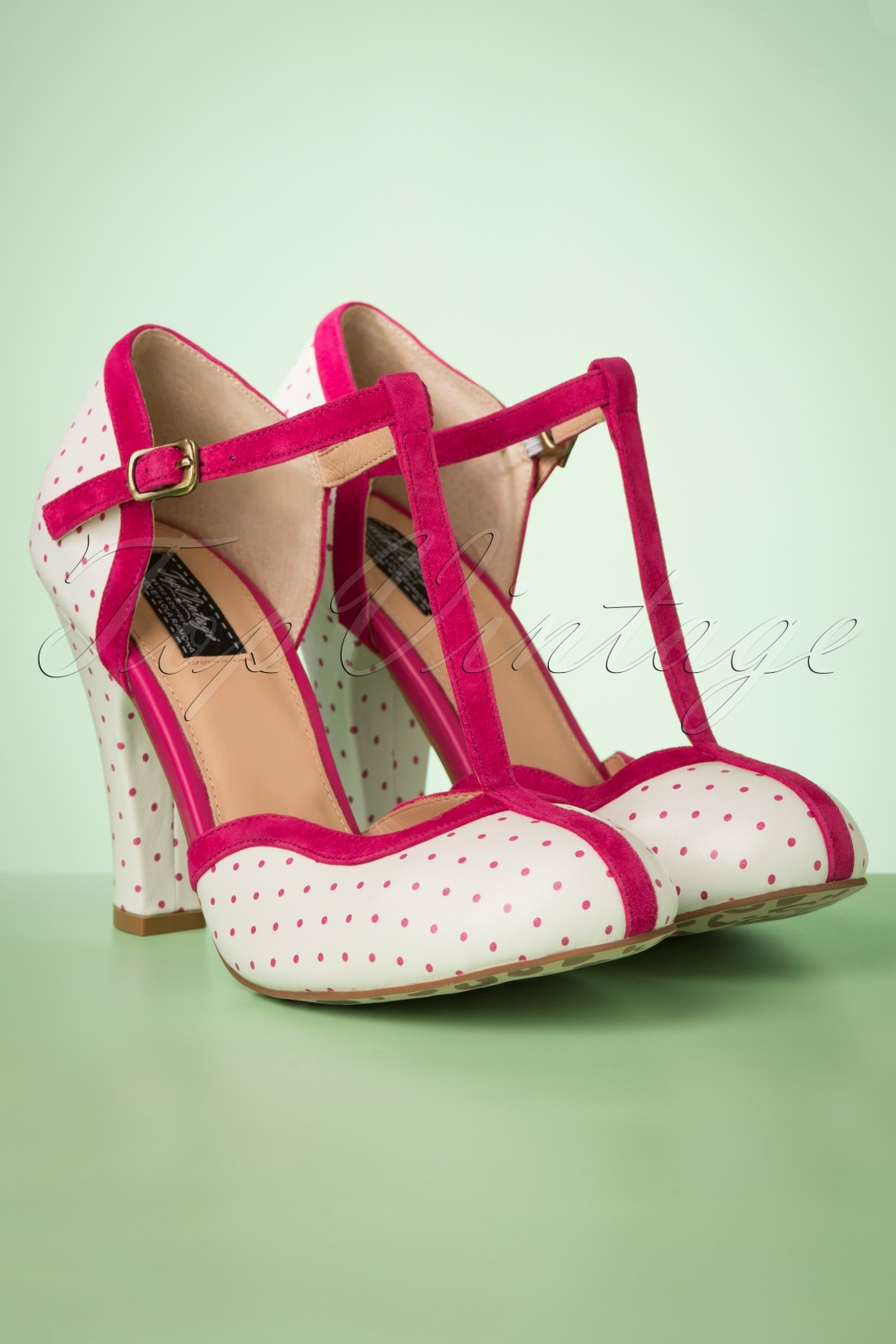 c5483f11ffd 50s June Pin Down The Dots T-Strap Pumps in Cream and Magenta