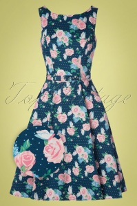 Collectif Clothing 50s Hepburn Pretty Floral Swing Dress in Navy