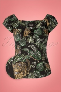 50s Dolores Jungle Top in Black
