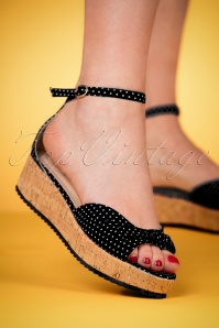 Banned Retro 50s Riri West Polkadot Platform Sandals in Black