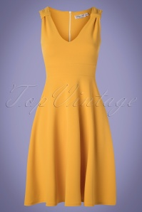 50s Deidre Swing Dress in Mango Mojito Yellow