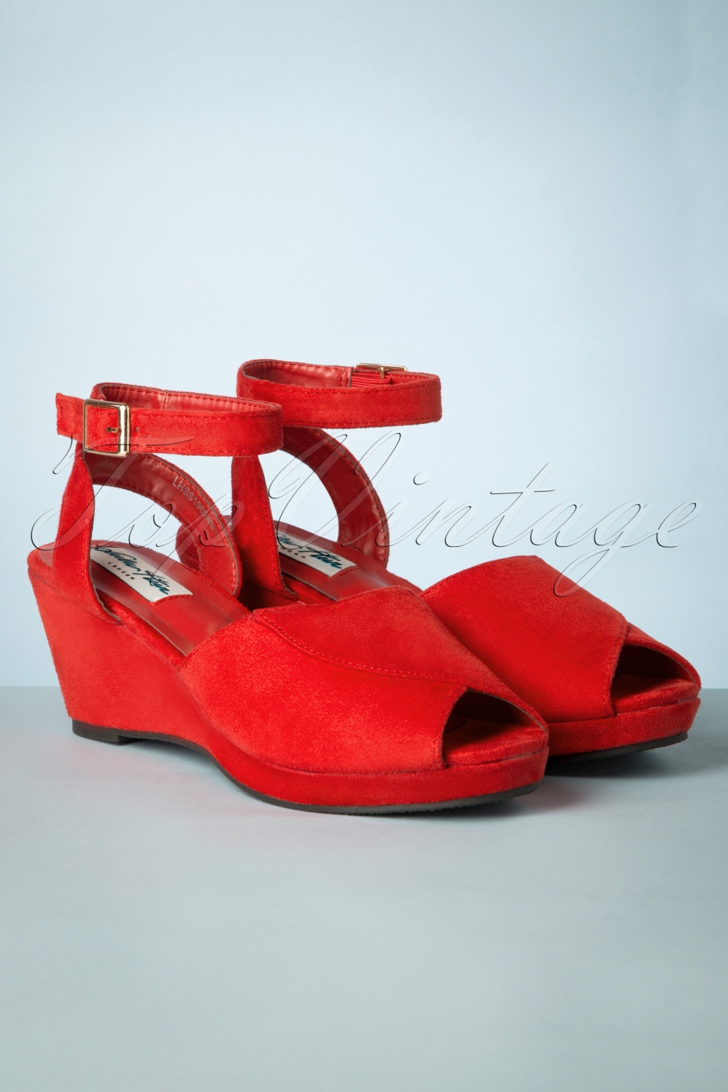 1950s Style Shoes | Heels, Flats, Saddle Shoes 60s Simona Peeptoe Wedge Sandals in Red �40.19 AT vintagedancer.com