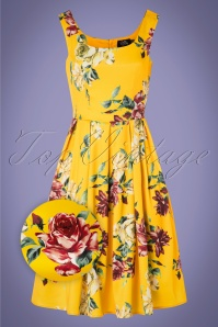 Dolly and Dotty 50s Amanda Rose Swing Dress in Yellow Satin