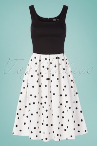 50s Amanda Polkadot Swing Dress in Black and White