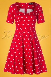 50s Barbara Polkadot Swing Dress in Red
