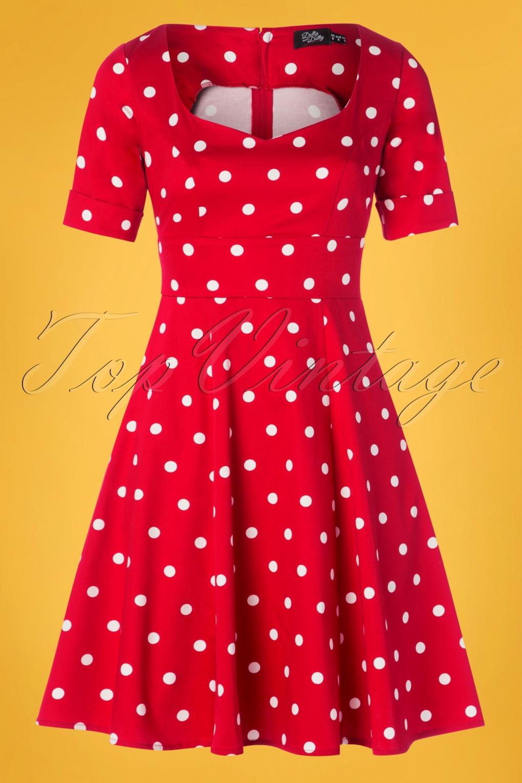 Vintage Polka Dot Dresses – 50s Spotty and Ditsy Prints 50s Barbara Polkadot Swing Dress in Red £44.85 AT vintagedancer.com
