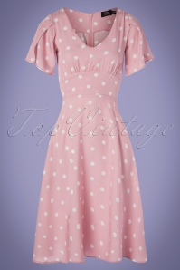 50s Janice Polkadot Summer Dress in Light Pink and White