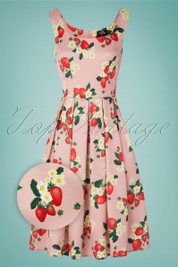 Dolly and Dotty 50s Amanda Strawberry Swing Dress in Pink Satin