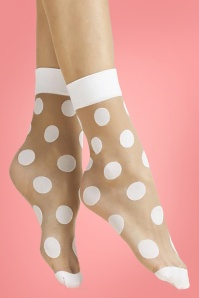 Fiorella 60s Virginia Polkadot Socks in Powder and White
