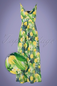 Smashed Lemon 70s Janine Lemon Floral Maxi Dress in White and Green