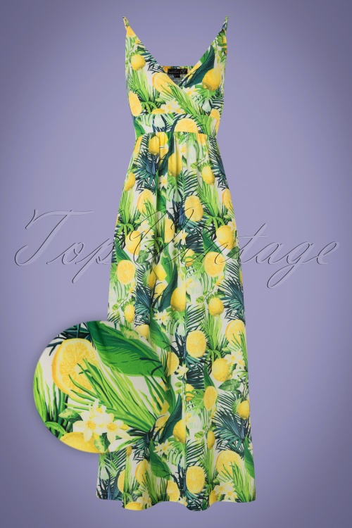 70s Janine Lemon Floral Maxi Dress in White and Green