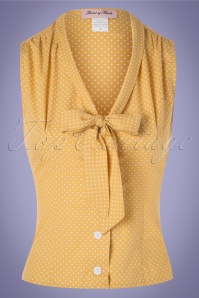 Heart of Haute 50s Elena Dot Blouse in Marigold Yellow