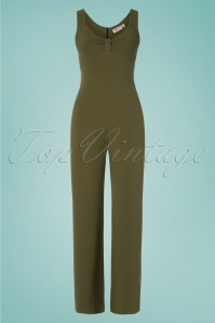 Vintage Chic for TopVintage 50s Mirabel Jumpsuit in Olive Green