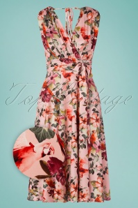 Vintage Chic for TopVintage 50s Jane Parrot Midi Dress in Pink