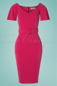 Roxana Pencil Dress Années 50 en Rose Bonbon