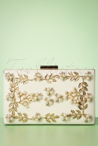 Lovely Gold Vine and Pearl Hardcase Clutch Années 50 en Ivoire