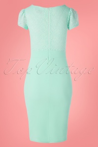 Vintage Chic 30705 Pencildress Pastel Green Lace 20 0006 W