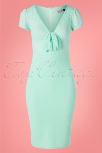 Vintage Chic for TopVintage 50s Rose Lace Top Pencil Dress in Mint Blue