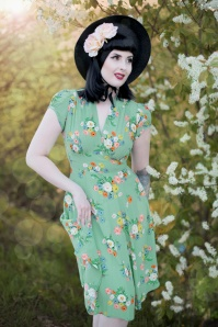 Ava Love Story Tea Dress Années 30 en Vert