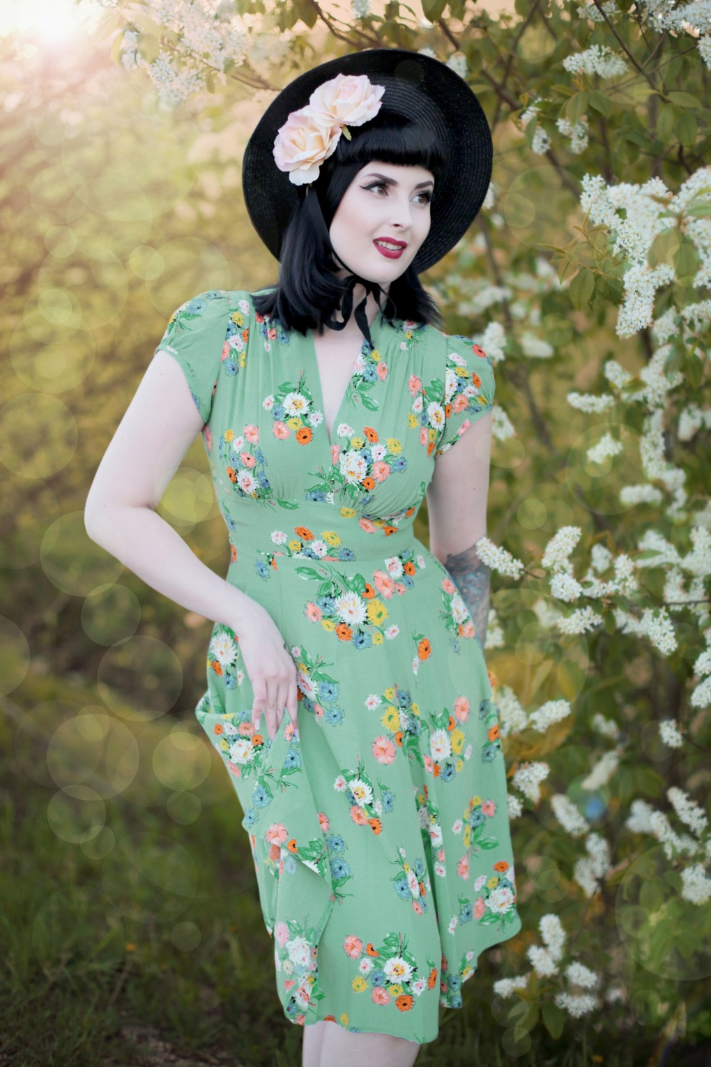 1930s Dresses | 30s Art Deco Dress 30s Ava Love Story Tea Dress in Green £91.17 AT vintagedancer.com