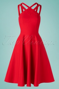 50s Pretty Woman Swing Dress in Red