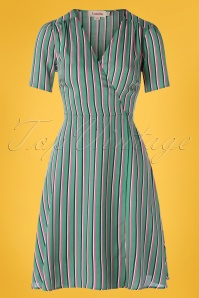 Louche 60s Marie Stripe Wrap Dress in Green