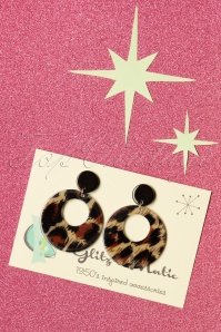 50s Lovely Hoop Earrings in Leopard