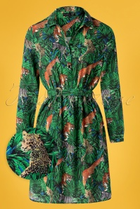 Dawn Jungle Blouse Dress Années 60 en Multi
