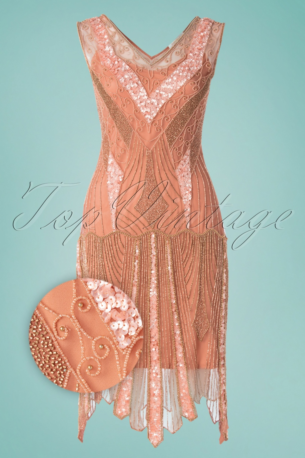 1920s Clothing 20s Renee Flapper Dress in Rose Gold £106.54 AT vintagedancer.com