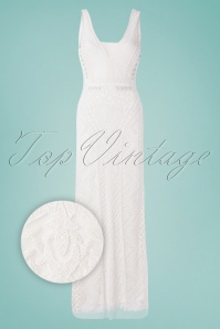 GatsbyLady 20s Grace Embellished Maxi Dress in White