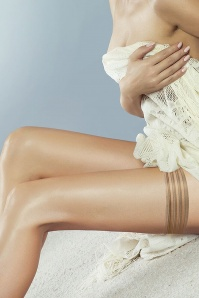 Perfectly Sheer Tri Band Hold Ups Années 50 en Nude