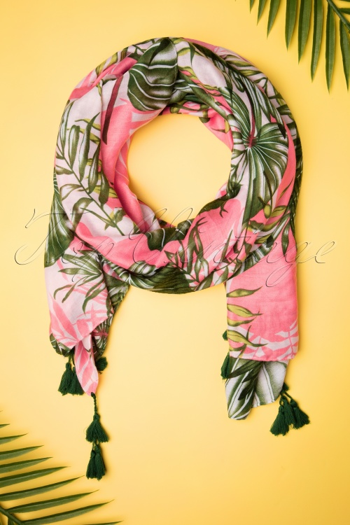 Louche 27973 Scarf Pink Green Tropical Leafs 20190528 011